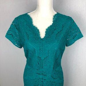 LOFT Dresses - Loft V Neck Lace Scalloped Sheath Dress Size 4